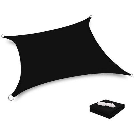 Toile Tendue Terrasse 2x2M Voile d'ombrage anti-UV Protection des rayons UV Tissu imperméable Résidérant Aux Intempéries Pour Terrasses Parcs Piscines, Noir