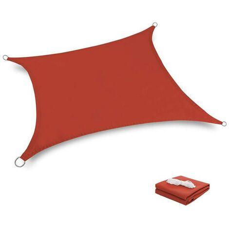Toile Tendue Terrasse 2x2M Voile d'ombrage anti UV Protection des rayons UV Tissu imperméable Résidérant Aux Intempéries pour Terrasses Piscines, Crimson