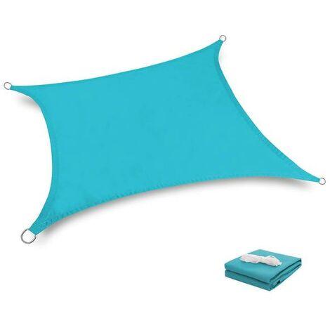 Toile Tendue Terrasse 2x2M Voile d'ombrage anti UV Protection des rayons UV Tissu imperméable Résidérant Aux Intempéries Pour Terrasses Piscines, Lac Bleu
