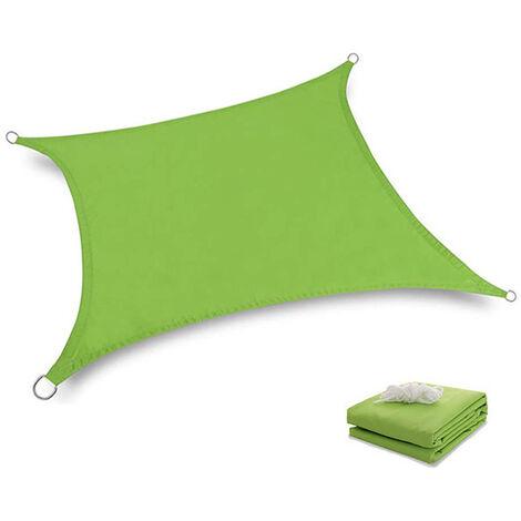 Toile Tendue Terrasse 2x2M Voile d'ombrage anti UV Protection des rayons UV Tissu imperméable Résidérant Aux Intempéries Pour Terrasses Piscines, Vert