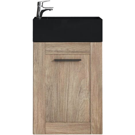 Toilet bathroom furniture Avila 40x22 cm oak vanity black - cabinet sink bathroom toilet