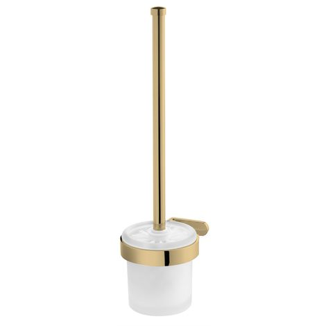 Toilet Brush + Cup Tempered Glass Gold Colour Finished Zamak Wall Mounted