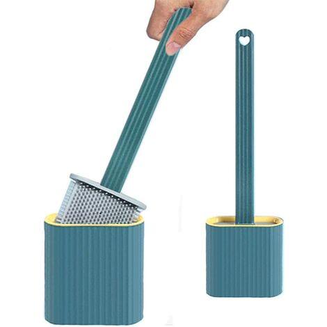 "main image of ""Toilet brush set, silicone toilet brush, silicone toilet brush, toilet brush set, silicone, toilet brushes and holder without drilling, toilet brushes and holder wall mounting, toilet brush"""