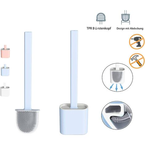 Toilet brush Silicone toilet brush , Toilet brush Bathroom toilet brushes with quick-dry holder can be placed or hung (Eisberg blau)