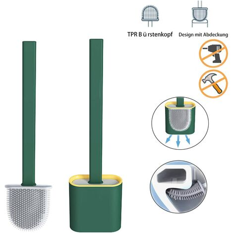 Toilet brush Silicone toilet brush , Toilet brush Bathroom toilet brushes with quick-dry holder can be placed or hung (Midnight green)