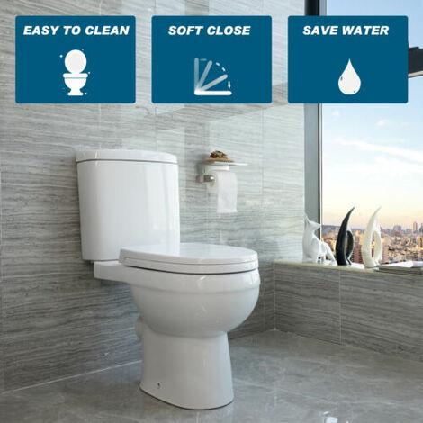 "main image of ""Toilet Close Coupled Ceramic Pan Cloakroom Soft Close Seat Bathroom WC Modern"""