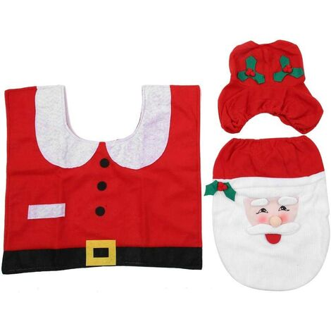 "main image of ""Toilet Lid Cover, Heavy Duty Non-slip 3 Piece Bathroom Mat (Santa Claus 3 Piece Set)"""