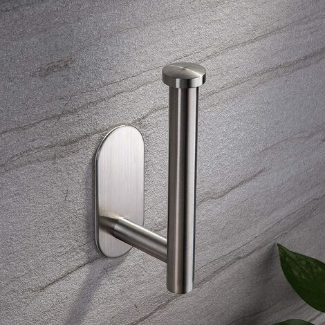 Toilet Paper Holder Self Adhesive - Adhesive Toilet Roll Holder no Drilling for Bathroom Stainless Steel Brushed