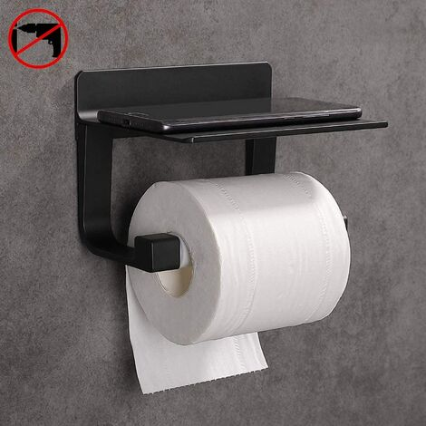 Toilet Paper Holder Wall Mounted Toilet Paper Holder Self-adhesive Toilet Paper Holder, Black Aluminum