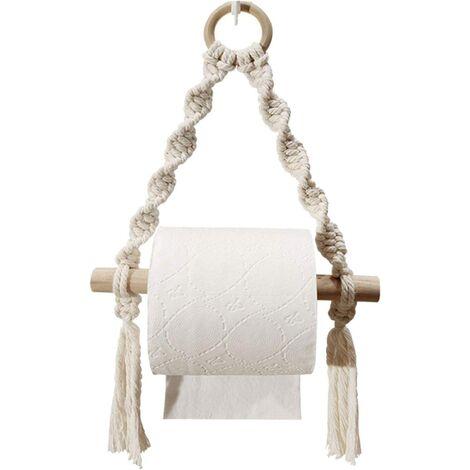 Toilet Paper Holder, Woven Macrame Toilet Paper Roll Holder for Toilet Bathroom, Hand Bathroom Hanging Ports (Hookless)