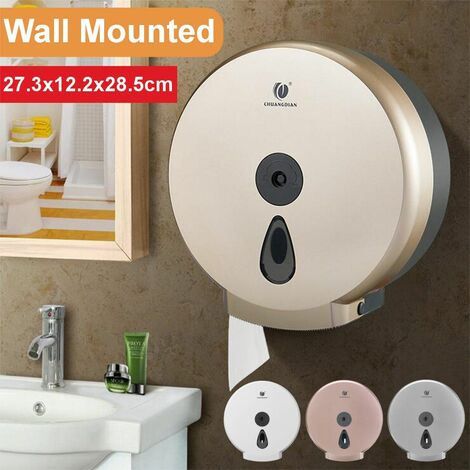 Toilet Paper Towel Dispenser Tissue Box Holder Wall Mounted Bathroom Accessories (White)