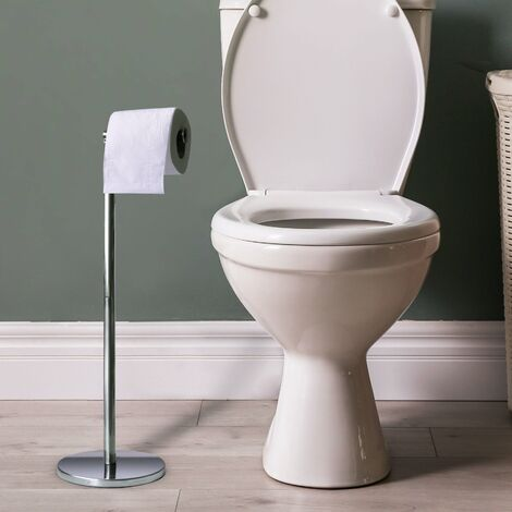 Toilet Roll Holder Free Standing Stainless Steel 2 In 1 Toilet Paper Stand