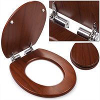 Toilet Seat Slow Close Wood Fits Standard Toilets
