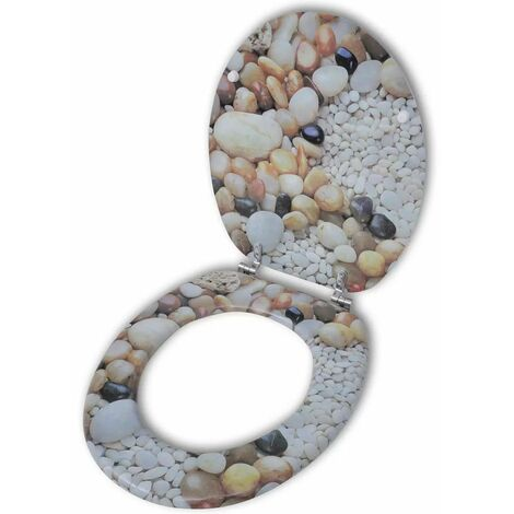 Toilet Seat with MDF Lid Pebbles Design VDTD04001