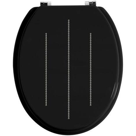 Toilet Seat,Black/Diamante Detail,Zinc Alloy Fittings
