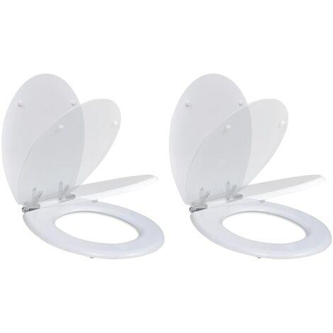 Toilet Seats with Soft Close Lids 2 pcs MDF White
