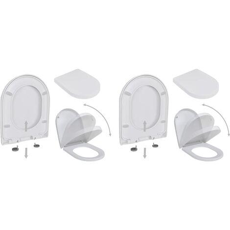 Toilet Seats with Soft Close Lids 2 pcs Plastic White
