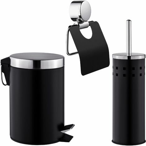 Toilet set 3 PCs. - toilet roll holder, toilet brush, bathroom accessories set - black - black