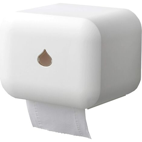 Toilet Tissue Roll Holder Waterproof Self Adhesive Wall Mounted Toilet Tissue Dispenser (White)