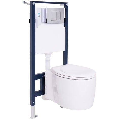 Toilet WC Wall Hung Mounted Bathroom Soft Closing Seat Cistern with Mounting Frame