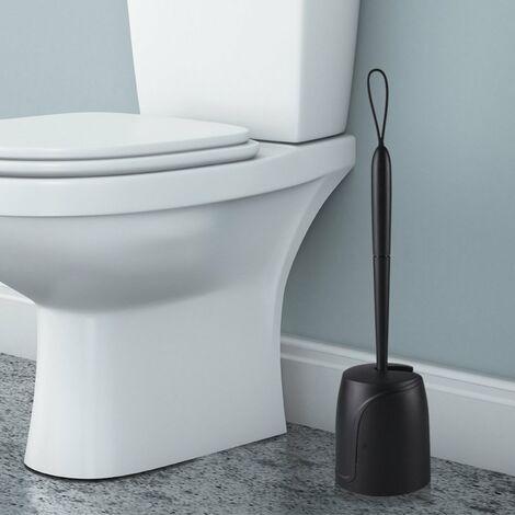 Toilette Brosse WC en Silicone, Balayette WC Ensemble à Manche Long avec Séchage Rapide Support Set et Brosse WC Jeu de Supports de Fermeture Automatique pour Salle de Bain ou WC d'invités noir