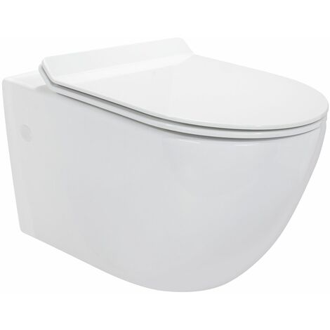 Toilette Hänge WC inkl. WC Sitz mit Absenkautomatik SOFTCLOSE + abnehmbar Carapelle L