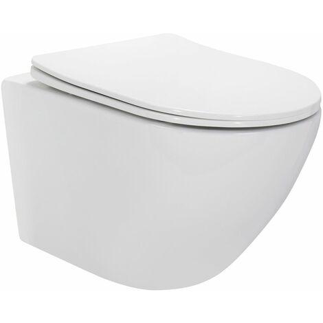 Toilette Hänge WC inkl. WC Sitz mit Absenkautomatik SOFTCLOSE + abnehmbar Carapelle M