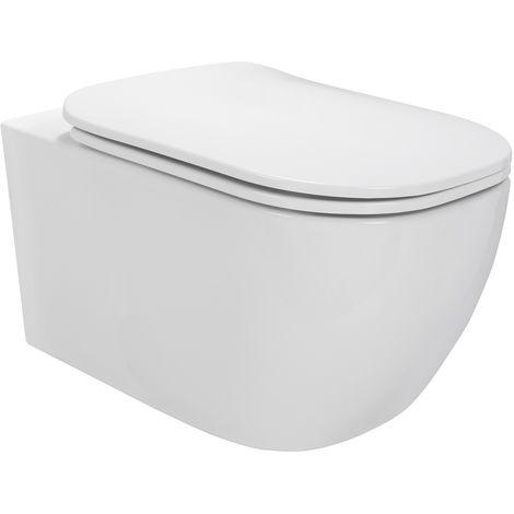 Toilette Hänge WC Spülrandlos inkl. WC Sitz mit Absenkautomatik SOFTCLOSE + abnehmbar Biferno