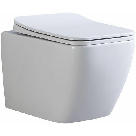 Toilette Hänge WC Spülrandlos inkl. WC Sitz mit Absenkautomatik SOFTCLOSE + abnehmbar CUBE