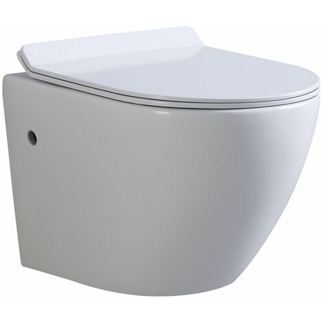 Toilette Hänge WC Spülrandlos inkl. WC Sitz mit Absenkautomatik SOFTCLOSE + abnehmbar Franco