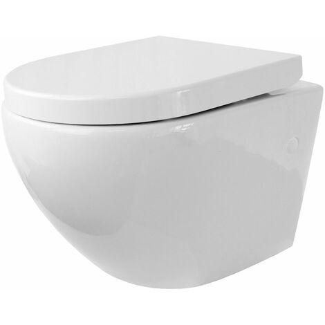 Toilette Hänge WC Spülrandlos inkl. WC Sitz mit Absenkautomatik SOFTCLOSE + abnehmbar Redonde
