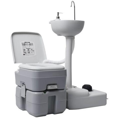 Toilette portable de camping et support à laver les mains Gris