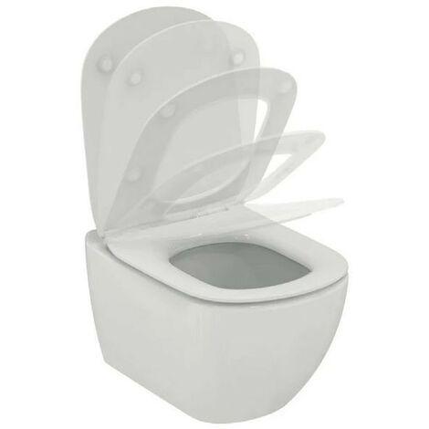 Toilette suspendue AquaBlade Ideal Standard Tesi avec abattant wc soft close | Blanc brillant - Avec abattant wc