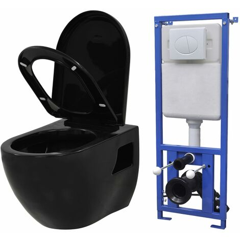 Toilette Suspendue Au Mur Avec Reservoir Cache Ceramique Noir