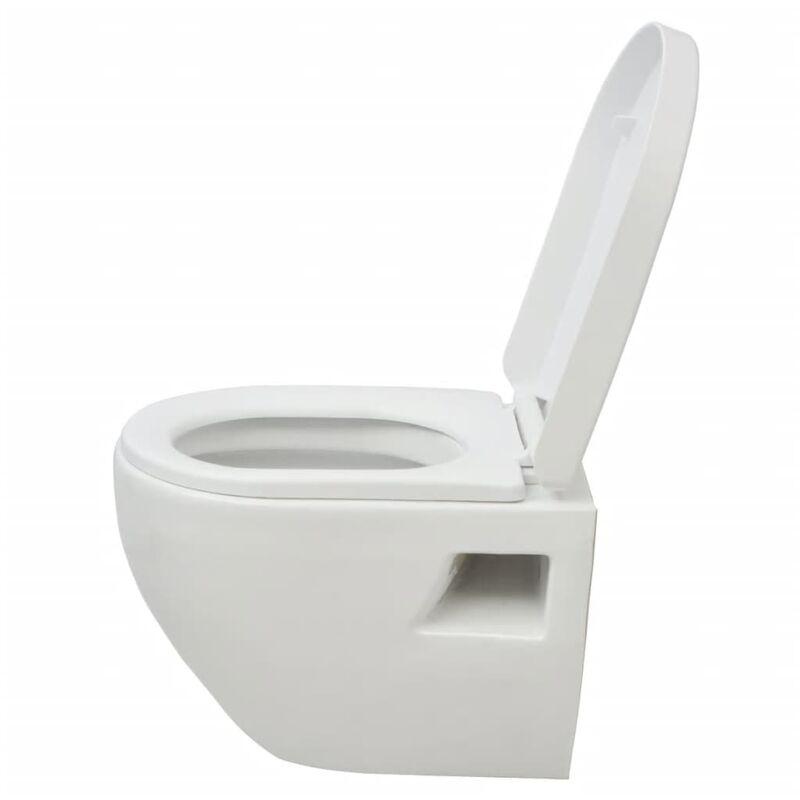 Toilette suspendue au mur avec réservoir Céramique Blanc - 274345