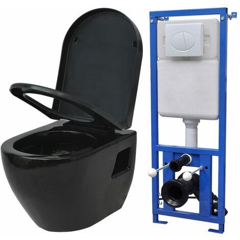 Toilette suspendue au mur avec réservoir Céramique Noir