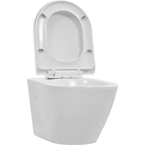Toilette suspendue au mur sans rebord Céramique Blanc