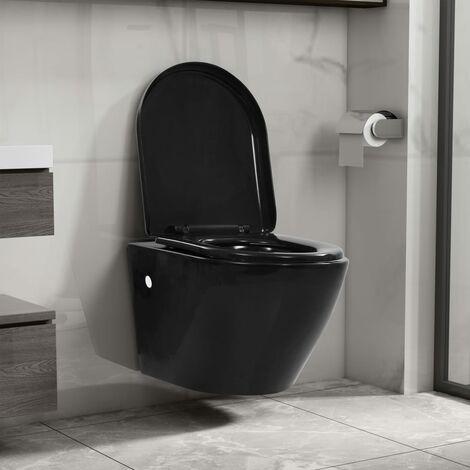 Toilette suspendue au mur sans rebord Ceramique Noir