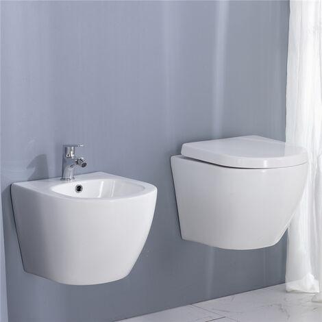 Toilette Suspendue en Céramique Blanc avec Abattant WC + Bidet Suspendu en Céramique Design avec Trop-plein - Montage Mural
