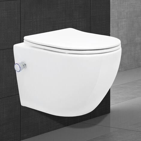 """main image of """"Toilette wc suspendu fonction bidet système de rinçage sans bord en céramique"""""""