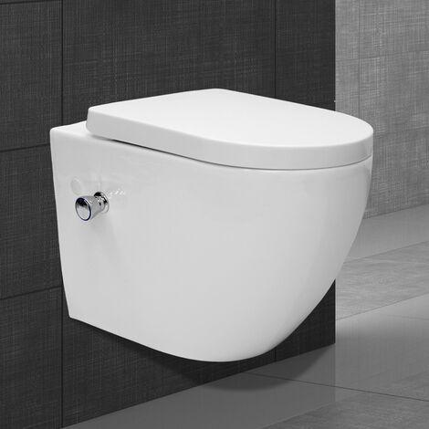 Toilette wc suspendu fonction bidet système de rinçage sans bord en céramique