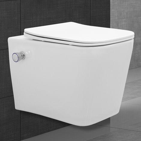 Toilette wc suspendu rinçage sans bride en céramique fonction bidet avec siège
