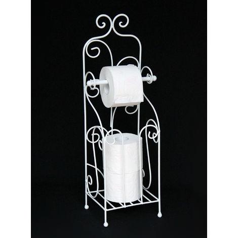 Toilettenpapierhalter Antik Weiß Metall HX13608 WC Rollenhalter Freistehend