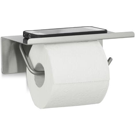 Toilettenpapierhalter Edelstahl, Klopapierhalter Wand, Klorollenhalter Ablage, HxBxT: 7 x 18,5 x 11 cm, silber
