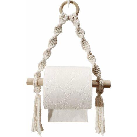 Toilettenpapierhalter, gewebtes Makramee Toilettenpapierrollenhalter für Bad Toilette, Handheld Bad hängenden Ports (ohne Haken)
