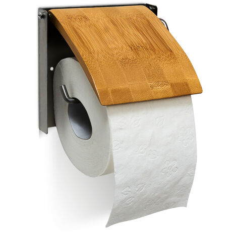 Toilettenpapierhalter H x B x T: 13,5 x 14,5 x 13,5 cm WC-Rollenhalter für 1 Klopapierrolle zur Wandmontage aus Bambus und rostfreiem Edelstahl als Wandrollenhalter für das Badezimmer, natur