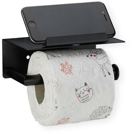 Toilettenpapierhalter mit Ablage, 430er Edelstahl, Wandmontage mit & ohne Bohren, Handyhalter, schwarz matt