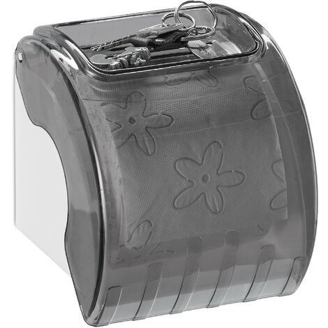 Toilettenpapierhalter mit Ablage & Abdeckung, Kunststoff Klopapierhalter HxBxT: 15 x 13,5 x 15 cm, grau/weiß