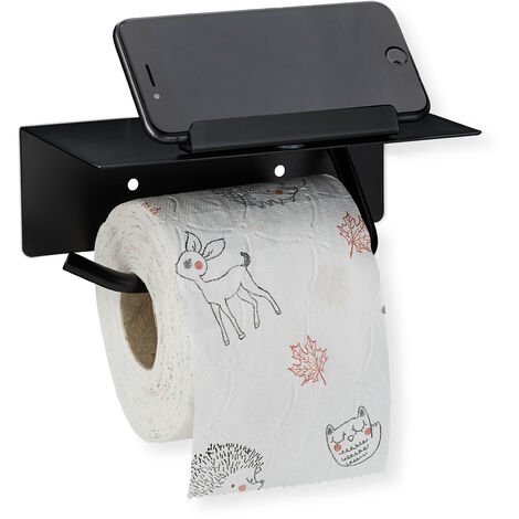 Toilettenpapierhalter mit Ablage & Handyhalter, Wandmontage mit & ohne Bohren, 430er Edelstahl, schwarz matt