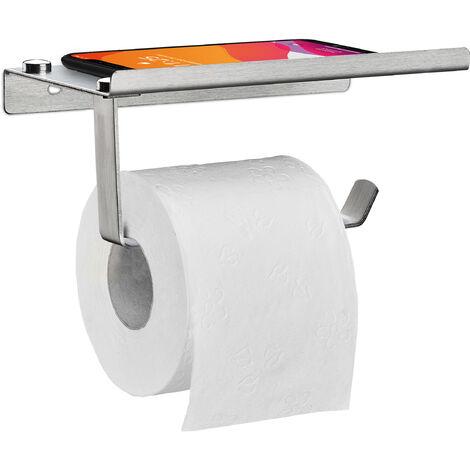 Toilettenpapierhalter, mit Ablage, Klopapierhalter Edelstahl gebürstet, Wandmontage, HBT 8x18x9,5 cm, silber